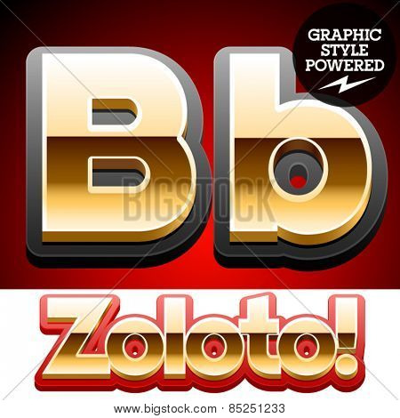 Vector set of classic 3D golden glossy font with black mat border. Optional different styles. Letter B