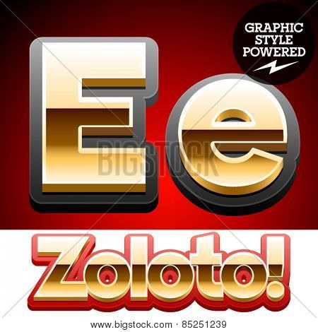 Vector set of classic 3D golden glossy font with black mat border. Optional different styles. Letter E