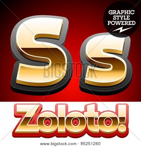 Vector set of classic 3D golden glossy font with black mat border. Optional different styles. Letter S