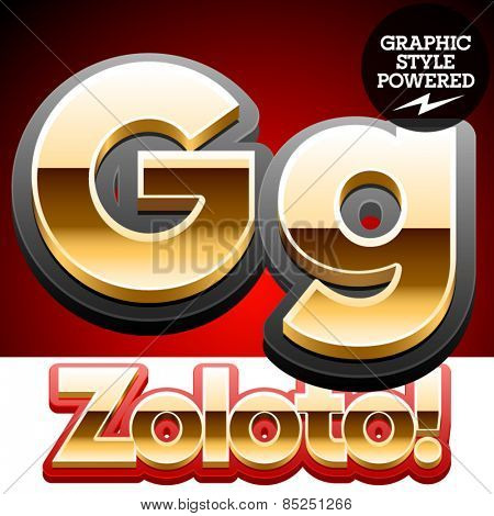 Vector set of classic 3D golden glossy font with black mat border. Optional different styles. Letter G