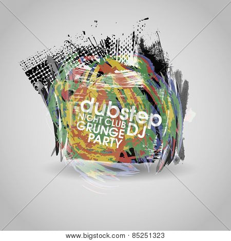 Grunge banner with an inky dribble strip with copy space. Abstract background for party. New creative grunge print for t-hirt, poster, brochure. night club paty, festival, carnival, fiesta