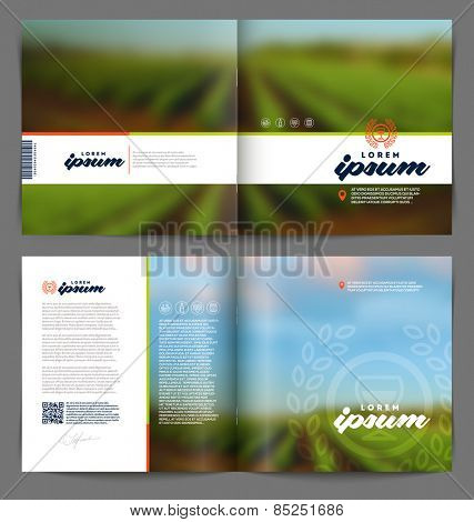 Vector template booklet page design - Wine and winemaking