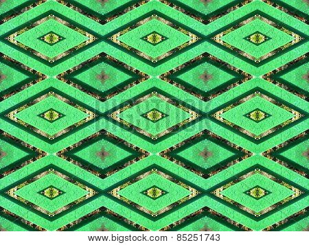 Seamless geometric pattern in a green colors