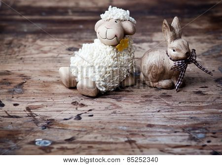 Easter decoration with eggs and cute lamb and bunny