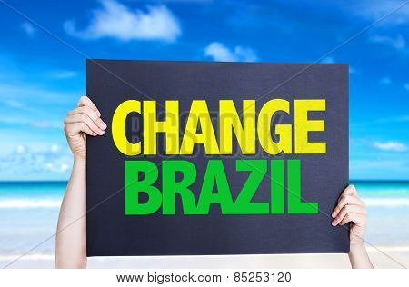 Change Brazil card with beach background