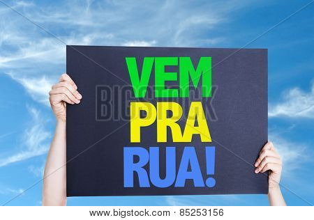 Come to Street (in Portuguese) card with sky background