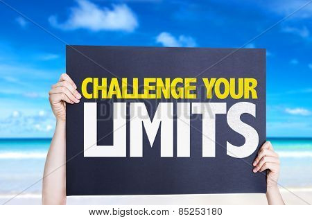 Challenge Your Limits card with beach background