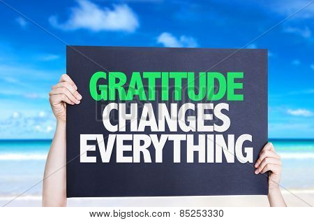 Gratitude Changes Everything card with beach background