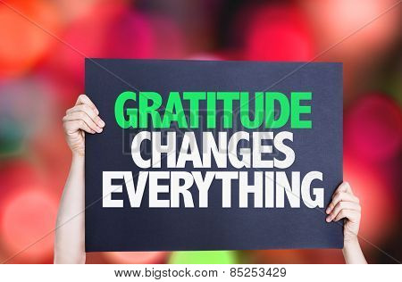 Gratitude Changes Everything card with bokeh background