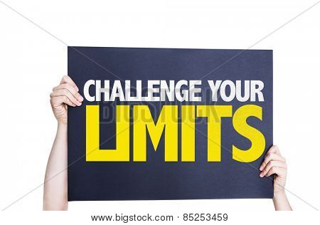 Challenge Your Limits card isolated on white background