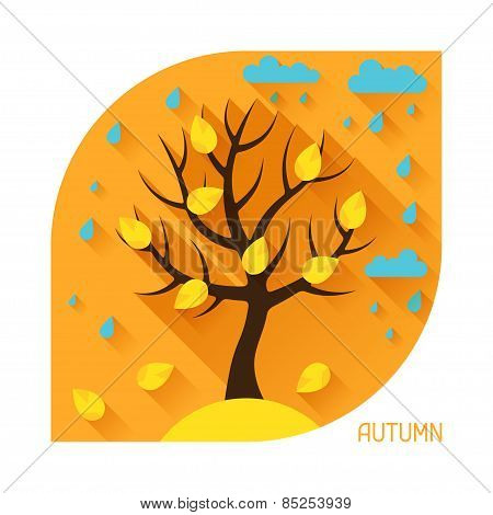 Seasonal illustration with autumn tree in flat style.