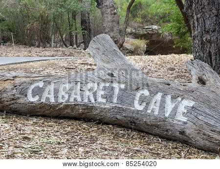 Carved Entrance Cabaret Cave Sign In Yanchep National Park