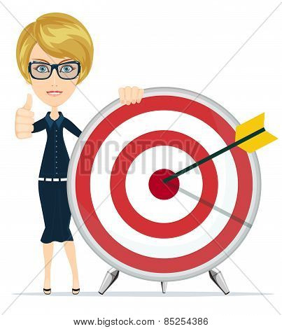 Woman showing victory sign, holding a target with arrow