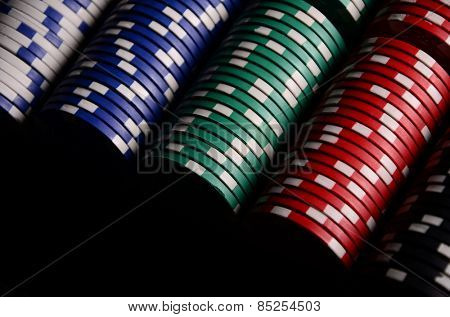 Stack of chips. Poker. Blackjack. Roulette.