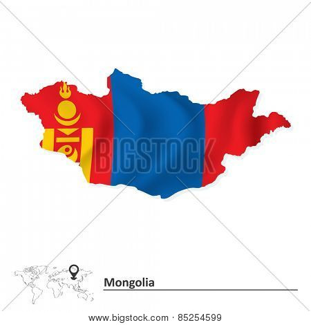 Map of Mongolia with flag - vector illustration