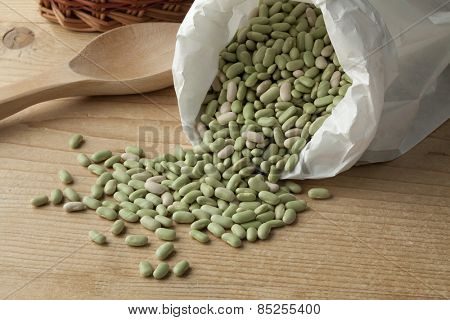 Paper bag with  French flageolets beans