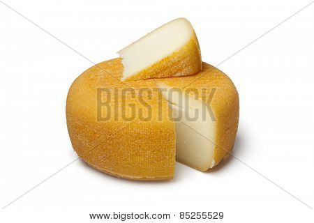 Port salut cheese with a slice on white background
