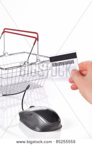 Online shopping basket concept and credit card