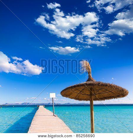 Mallorca Platja de Alcudia beach pier in Majorca Balearic islands
