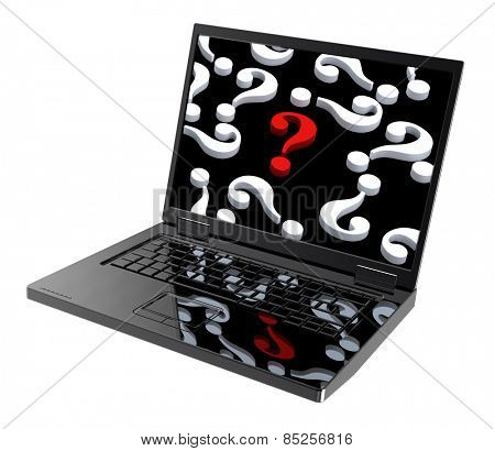 Laptop with question marks on the screen isolated over white. Computer generated 3D photo rendering.