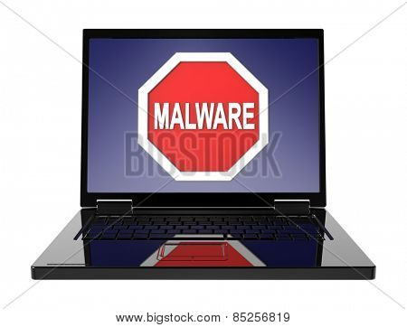 Malware warning sign on laptop screen. Computer generated 3D photo rendering.