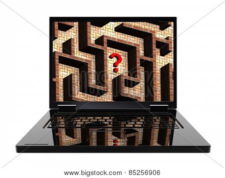 Laptop with maze on the screen isolated over white. Computer generated 3D photo rendering.
