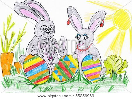 rabbit family on meadow with easter eggs. child drawing.