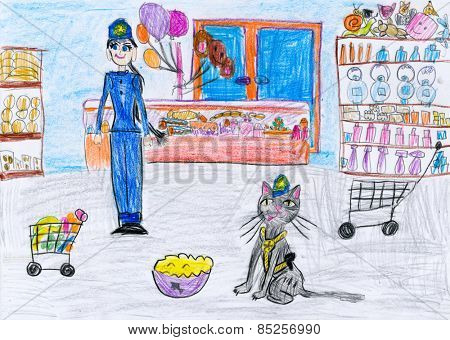 cat and a girl in the shop. child drawing.