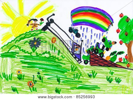 child jumping in car over hill . child drawing