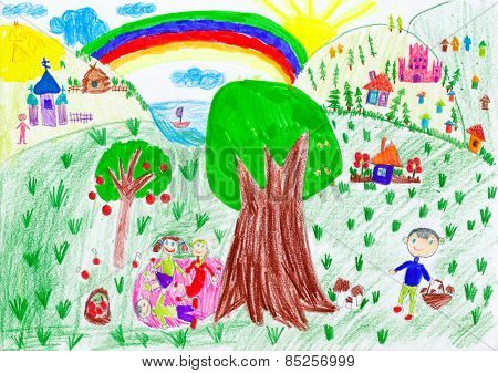 people relax on meadow near the village. child drawing