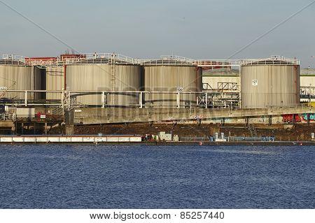 Hamburg - Oil Tanks At The Port Of Hamburg (germany)