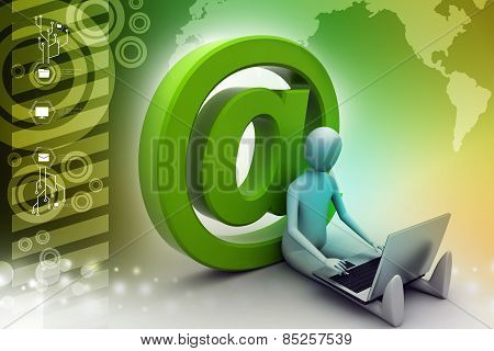 3d person with e mail symbol and laptop