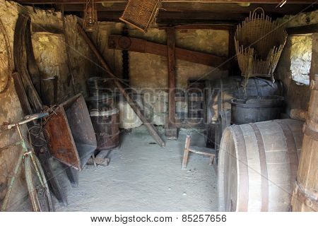 KUMROVEC, CROATIA - SEPTEMBER 24: Wine Cellar in Ethnological Folk Museum Staro Selo in Kumrovec, Northern County of Zagorje Croatia on September 24, 2013.