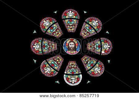 MARIJA BISTRICA, CROATIA - JULY 14: Jesus, stained glass window in Basilica Assumption of the Virgin Mary in Marija Bistrica, Croatia, on July 14, 2014