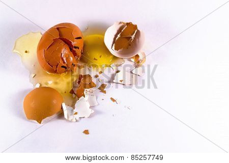 Broken Egg With Whte And Yellow Yolk