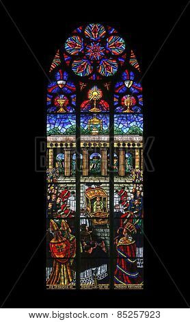 VIENNA, AUSTRIA - OCTOBER 11: Eucharistic Congress, Stained glass in Votiv Kirche (The Votive Church). It is a neo-Gothic church in Vienna, Austria on October 11, 2014