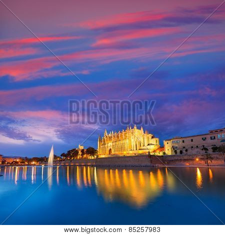 Palma de Mallorca Cathedral Seu sunset in Majorca Balearic islands of Spain