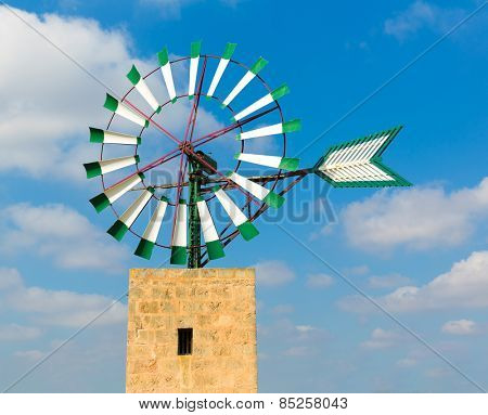 Mallorca Majorca windmill in Campos Balearic Islands of Spain
