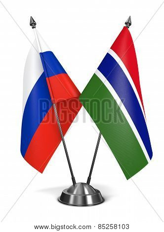 Russia and Gambia - Miniature Flags.