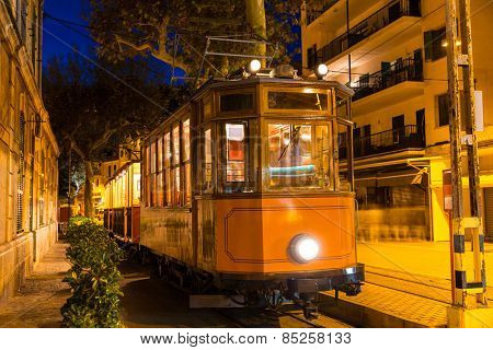 Port de Soller sunset train Ferrocarril Majorca at Balearic island of Mallorca Spain