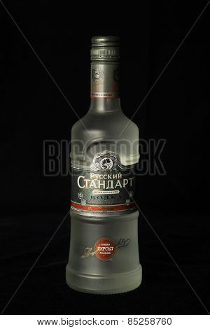 MONTREAL, CANADA - FEBRUARY 11, 2015: Bottle of vodka The Russian Standard, later called Original, vodka established the brand as one of the top premium vodka brands in the Russian market since 1998.