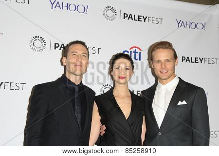 LOS ANGELES - MAR 12:  Tobias Menzies, Caitriona Balfe, Sam Heughan at the PaleyFEST LA 2015 -