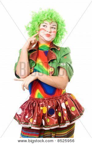 Portrait Of Pensive Female Clown