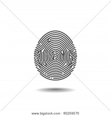 Stylized Thumbprint Isolated On White Background. Vector Illustration
