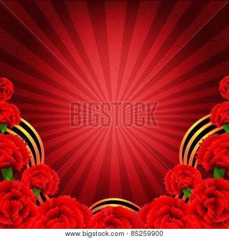 Victory Red Poster With Red Carnations Border With Gradient Mesh, Vector Illustration