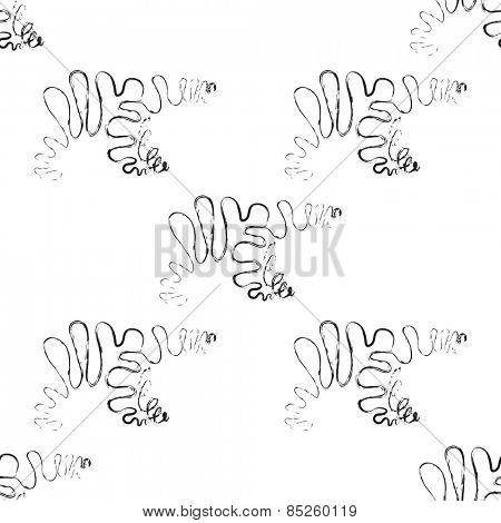 Polar bear seamless pattern in black and white Vector Illustration