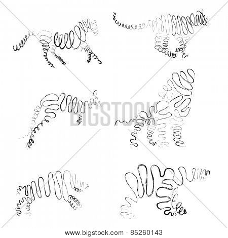 set of animals made from ribbon Vector illustration