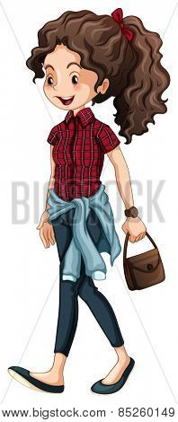 Hipster girl carrying a handbag