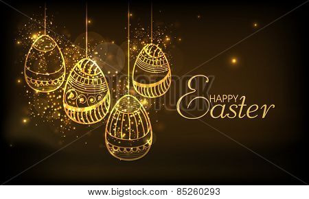 Golden floral design decorated eggs hanging on shiny brown background for Happy Easter celebration.