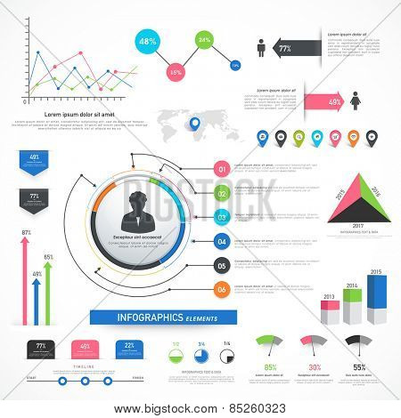 Collection of various business infographics including statistical bars and graph for your professional presentation.
